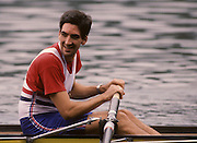 Bled, Slovenia, YUGOSLAVIA. GBR M4+,  Gavin STEWART and Terry DILLON,    Coxed Fours, 1989 World Rowing Championships, Lake Bled. [Mandatory Credit. Peter Spurrier/Intersport Images]