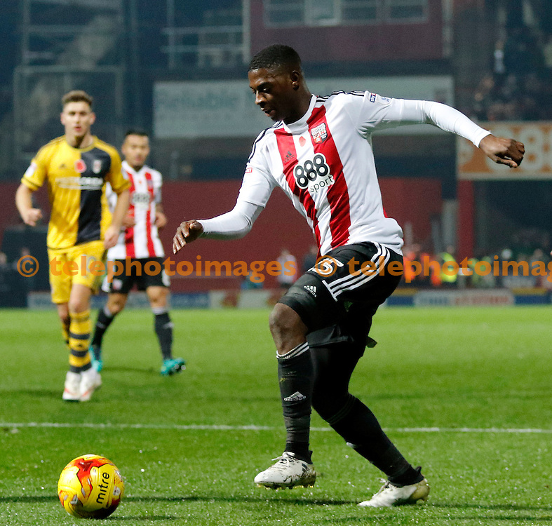 Brentford's Sullay Kaikai leads an attack during the Sky Bet Championship match between Brentford and Fulham at Griffin Park in London. November 4, 2016.<br /> Carlton Myrie / Telephoto Images<br /> +44 7967 642437