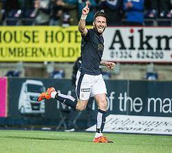Falkirk's Lee Miller celebrates after scoring their second goal. Falkirk 2 v 0 Livingston, Scottish Championship game played 29/12/2015 at The Falkirk Stadium.