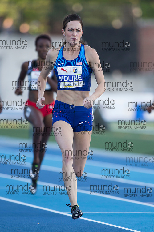 Toronto, ON -- 10 August 2018: Georganne Moline (USA), 400m hurldes semi-final at the 2018 North America, Central America, and Caribbean Athletics Association (NACAC) Track and Field Championships held at Varsity Stadium, Toronto, Canada. (Photo by Sean Burges / Mundo Sport Images).