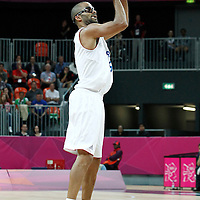 31 July 2012: Tony Parker of France takes a jumpshot during 71-64 Team France victory over Team Argentina, during the men's basketball preliminary, at the Basketball Arena, in London, Great Britain.