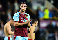 Burnley's Kevin Long applauds the fans after the match <br /> <br /> Photographer Alex Dodd/CameraSport<br /> <br /> UEFA Europa League - UEFA Europa League Qualifying Second Leg 2 - Burnley v Olympiakos - Thursday August 30th 2018 - Turf Moor - Burnley<br />  <br /> World Copyright © 2018 CameraSport. All rights reserved. 43 Linden Ave. Countesthorpe. Leicester. England. LE8 5PG - Tel: +44 (0) 116 277 4147 - admin@camerasport.com - www.camerasport.com