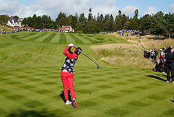 Solheim Cup 2019 at Centenary Course at Gleneagles in Scotland, UK. Annie Park of USA drives on 11th hole during the Friday Morning Foursomes.