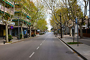 Normally busy Rambla de Ribatallada, devoid of traffic. 21 March 2020 - one week into lockdown. Empty streets in Sant Cugat del Valles, a normally bustling city of some 90,000 people outside Barcelona, a week after Spain exerted a state of Emergency to deal with the spread Coronavirus. Spain is one of the worst affected countries. Schools and retail businesses are closed, except for supermarkets and pharmacies.