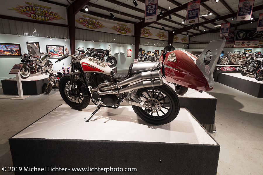 """Paul Wideman's custom Buell in the """"Built for Speed"""" exhibition curated by Michael Lichter and Paul D'Orleans in the Russ Brown Events Center as part of the annual """"Motorcycles as Art"""" series at the Sturgis Buffalo Chip during the Black Hills Motorcycle Rally. SD, USA. August 5, 2014.  Photography ©2014 Michael Lichter."""