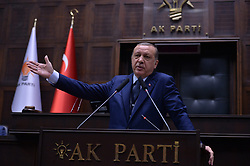 June 13, 2017 - Ankara, Turkey - Turkish President and Chairman of the Justice and Development Party (AK Party) Recep Tayyip Erdogan delivers a speech during AK Party's group meeting at the Grand National Assembly of Turkey (TBMM) in Ankara.. (Credit Image: © Depo Photos via ZUMA Wire)