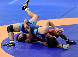 JAKARTA, Aug. 19, 2018  Bajrang Bajrang (Bottom) of India vies with Takatani Daichi of Japan during Men's Wrestling Freestyle 65 kg Final of the 18th Asian Games at Jakarta, Indonesia, Aug. 19, 2018. Bajrang won 11-8. (Credit Image: © Yue Yuewei/Xinhua via ZUMA Wire)