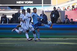 March 11, 2018 - Bronx, New York, United States - New York City FC midfielder YANGEL HERRERA (30) controls a pass during a regular season match at Yankee Stadium in Bronx, NY.  NYCFC defeats LA Galaxy 2 to 1. (Credit Image: © Mark Smith via ZUMA Wire)