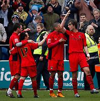 Photo: Richard Lane/Richard Lane Photography. <br /> Colchester United v Coventry City. Coca Cola Championship. 19/04/2008. City's Daniel Fox (rt) celebrates scoring a goal from a penalty.