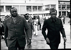 1974 - President Mobutu Groats Ugana Leader Idi Amin Who Flow in Hero and Afforod his Troops to mobutu to right in the Shobo Provinco. (Credit Image: © Keystone Pictures USA/ZUMAPRESS.com)