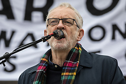 London, UK. 11 January, 2020. Jeremy Corbyn, Leader of the Opposition, addresses the No War on Iran demonstration in Trafalgar Square organised by Stop the War Coalition and the Campaign for Nuclear Disarmament to call for deescalation in the Middle East following the assassination by the United States of Iranian General Qassem Soleimani and the subsequent Iranian missile attack on US bases in Iraq.