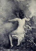 La Source by Courselles-Dumont from Le Nu au Salon 1908 A collection of Nude photography published in Paris in 1908 by Société nationale des beaux-arts (France). et Société des artistes français. Catalogs of nudes exhibited at the official Paris Salons. Some years have two parts: The Salon held at the Champs Élysées sponsored by the Société des artistes français and the Salon held at the Champ de Mars sponsored by the Société nationale des beaux-arts