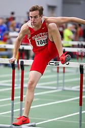 60 hurdle, Boston U, Biesma<br /> BU Terrier Indoor track meet