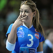 Vakifbank GS TT's Gizem GURESEN  during their Women's Volleyball CEV Champions League semi final match at Burhan Felek Arena in Istanbul, Turkey on 20 March 2011. Photo by TURKPIX