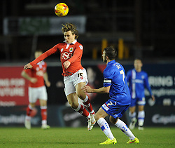 Bristol City's Luke Freeman gets to the ball ahead of Gillingham's Doug Loft - Photo mandatory by-line: Dougie Allward/JMP - Mobile: 07966 386802 - 29/01/2015 - SPORT - Football - Bristol - Ashton Gate - Bristol City v Gillingham - Johnstone Paint Trophy