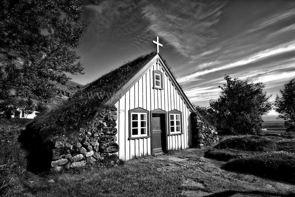 This church, built in Hofskirkja, Iceland in 1884, is the last turf church built in the old style and is one of six churches still standing.  The church is preserved as a historical monument and maintained by the National Museum. It still serves as a parish church.