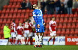 Peterborough United's Jack Payne cuts a dejected figure after Swindon go 2-0 up - Photo mandatory by-line: Joe Dent/JMP - Tel: Mobile: 07966 386802 11/01/2014 - SPORT - FOOTBALL - County Ground - Swindon - Swindon Town v Peterborough United - Sky Bet League One