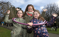 Majella Crennan, centre,  from Ringsend with her niece, Beth Crennan, 8, from Knocklyon and her cousin Sarah Coyle, 10, from Tyrone in St Stephens green, Dublin as part of RTE's reflecting the rising celebrations. Picture credit; Damien Eagers 28/3/2016