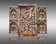 Medieval ivory Triptych relief panel depicting the Ascension, end of 11th cent. AD. Inv OA 6340, The Louvre Museum, Paris. .<br /> <br /> If you prefer you can also buy from our ALAMY PHOTO LIBRARY  Collection visit : https://www.alamy.com/portfolio/paul-williams-funkystock/romanesque-art-antiquities.html . Type-     Fasillar      - into the LOWER SEARCH WITHIN GALLERY box. Refine search by adding background colour, place, museum etc<br /> <br />  Visit our MEDIEVAL PHOTO COLLECTIONS for more   photos  to download or buy as prints https://funkystock.photoshelter.com/gallery-collection/Medieval-Romanesque-Art-Antiquities-Historic-Sites-Pictures-Images-of/C0000uYGQT94tY_Y