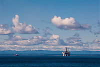 Russia, Sakhalin, Sea of Okhotsk. There is a growing oil and gas development offshore the North East coast of Sakhalin Island. The Lunskoye-A Platform (Lun-A).