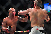 Robbie Lawler throws a punch against Rory MacDonald during UFC 189 at the MGM Grand Garden Arena in Las Vegas, Nevada on July 11, 2015. (Cooper Neill)