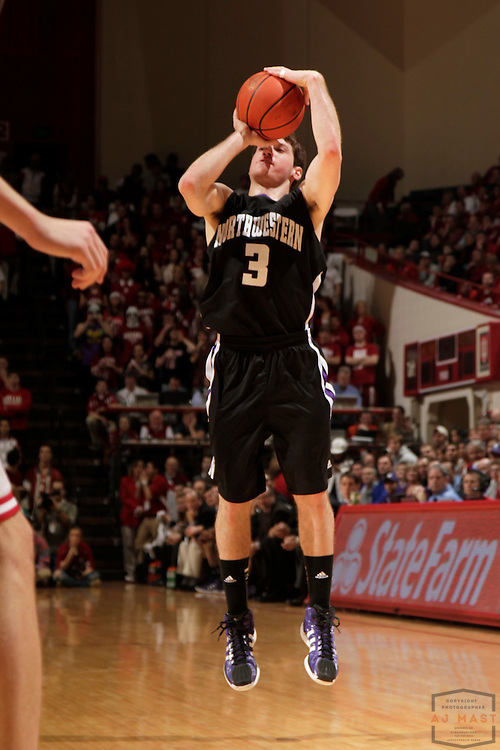 15 February 2012: Northwestern Wildcats guard Dave Sobolewski (3) as the Indiana Hoosiers played the Northwestern Wildcats in a college basketball game in Blomington, Ind.
