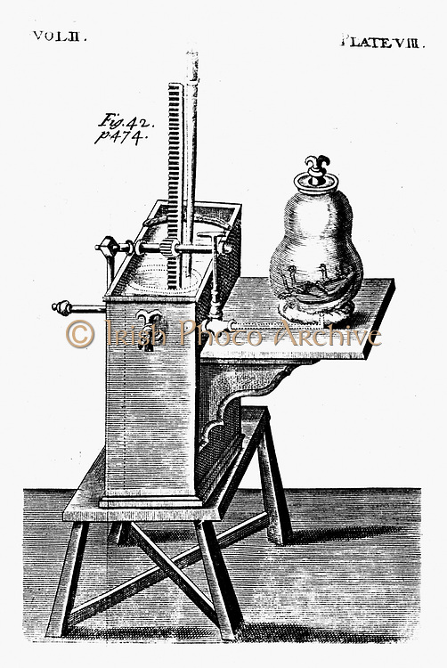 Evacuating bell jar to examine effect on animal in it.  Robert Boyle's second air pump c1660. Edition of Boyle's work published 1725. Engraving