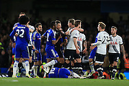 Tempers flair at end of game as both sets of players have a coming together.  Barclays Premier league match, Chelsea v Tottenham Hotspur at Stamford Bridge in London on Monday 2nd May 2016.<br /> pic by Andrew Orchard, Andrew Orchard sports photography.