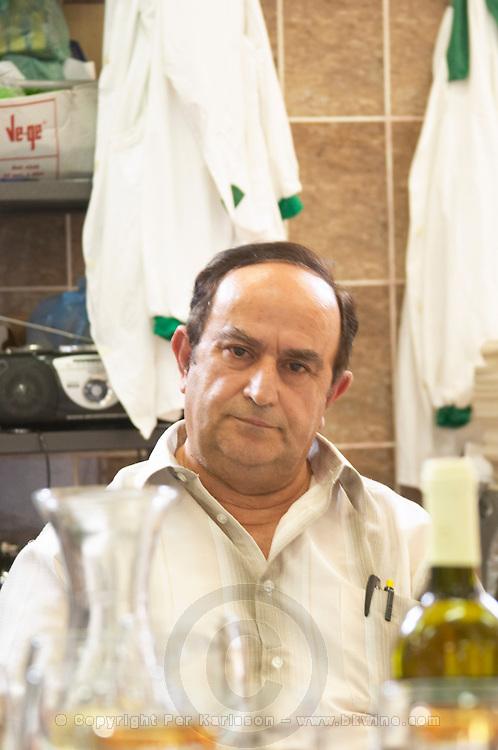 Enver Ulqini, oenologist and winemaker at the tasting table. Kantina Miqesia or Medaur winery, Koplik. Albania, Balkan, Europe.
