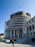 View of The Beehive, the seat of national government in Wellington, New Zealand.