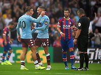 Football - 2019 / 2020 Premier League - Crystal Palace vs. Aston Villa<br /> <br /> A distraught  Jack Grealish of Villa after his goal was disallowed,points the finger at referee, Kevin Friend at Selhurst Park.<br /> <br /> COLORSPORT/ANDREW COWIE