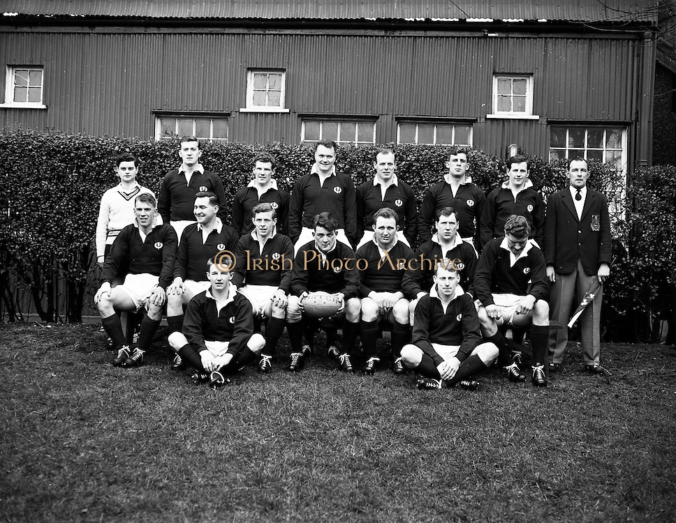 Irish Rugby Football Union, Ireland v Scotland, Five Nations, Landsdowne Road, Dublin, Ireland, Saturday 27th February, 1960,.27.2.1960, 2.27.1960,..Referee- D G Walters, Welsh Rugby Union, ..Score- Ireland 5 - 6 Scotland, ..Scottish Team, ..K L F Scotland, Wearing number 1 Scottish jersey,  Full Back, Cambridge University Rugby Football Club, Cambridgeshire, England,..R H Thomson, Wearing number 5 Scottish jersey, Left Wing, London Scottish Rugby Football Club, Surrey, England, ..I H P Laughland, Wearing number 4 Scottish jersey, Left Centre, London Scottish Rugby Football Club, Surrey, England, ..G D Stevenson, Wearing number 3 Scottish jersey,  Right Centre, Hawick Rugby Football Club, Hawick, Scotland, ..A R Smith, Wearing number 2 Scottish jersey,  Right Wing, Ebbw Vale Rugby Football Club, Gwent, South Wales, ..G H Waddell, Wearing number 6 Scottish jersey, Captain of the Scottish team, Outside Half, Cambridge University Rugby Football Club, Cambridgeshire, England,..B Shillinglaw, Wearing number 7 Scottish jersey,  Scrum Half,  Gala Rugby Football Club, Galashiels, Scotland, and, K O S B Rugby Football Club, Scotland, ..D M W Rollo, Wearing number 8 Scottish jersey,  Forward, Howe of Fife Rugby Football Club, Fife, Scotland,..N S Bruce, Wearing number 9 Scottish jersey,  Forward, London Scottish Rugby Football Club, Surrey, England, ..H F McLeod, Wearing number 10 Scottish jersey,  Forward,  Hawick Rugby Football Club, Hawick, Scotland, ..F H ten Bos, Wearing number 11 Scottish jersey,  Forward, Oxford University Rugby Football Club, Oxford, England,..J W Y Kemp, Wearing number 12 Scottish jersey,  Forward, Glasgow High School F P Rugby Football Club, Glasgow, Scotland, ..G K Smith, Wearing number 13 Scottish jersey,  Forward, Kelso Rugby Football Club, Kelso, Scotland, ..J A Davidson, Wearing number 14 Scottish jersey,  Forward, Edinburgh Wanderers Rugby Football Club, Edinburgh, Scotland,..D B Edwards, Wearing number 15 Scottish jersey, Forward, Heriot's F