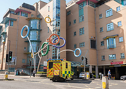 © Licensed to London News Pictures; 26/03/2020; Bristol, UK. Coronavirus Pandemic; General views of the Bristol Children's Hospital in the centre of Bristol, with ambulances arriving during the lockdown. Photo credit: Simon Chapman/LNP.