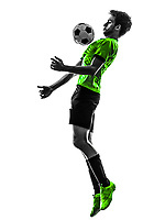one soccer football player young man in silhouette studio on white background