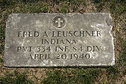 31 August 2017:   Veterans graves in Park Hill Cemetery in eastern McLean County.<br /> <br /> Fred A Leuschner Indiana  Private 334 INF 84 DIV  April 20 1940