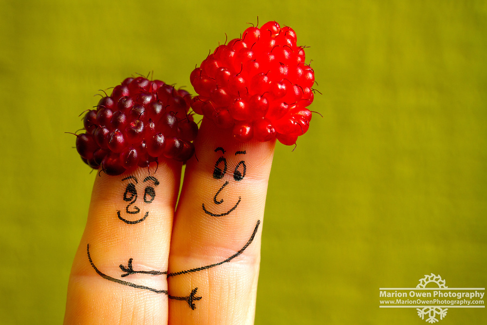Salmonberry finger puppets