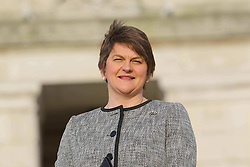 © Licensed to London News Pictures. 11/01/2016. Democratic Unionist Party (DUP) leader and Northern Ireland's new First Minister Arlene Foster poses for the press on the steps of Stormont Parliament Buildings.  She took over from Peter Robinson who resigned from the assembly on Monday.  Photo credit: Paul McErlane/LNP