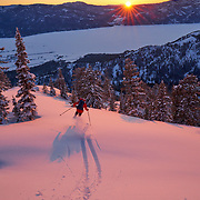 This one of my favorite shots from this past season. Aurel Baker managed to get a little bit of air while skiing away from me just as the sun set on our descent. For me this photo is all about the shadow, which shows the perfect form of a skier.