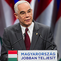 Zoltan Balog minister of Hungary talks during the annual state-of-the-nation speech of Viktor Orban (not pictured) in Budapest, Hungary on February 22, 2013. ATTILA VOLGYI