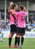 "Luca Toni e Mirko Vucinic (Juventus)<br /> Juventus Vs Cuneo<br /> Football Calcio gara amichevole 2011/2012<br /> Chiusa Pesio 5/8/2011 Centro Sportivo ""Chiusa Pesio""<br /> Foto Insidefoto Alessandro Sabattini"