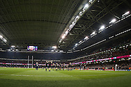 New Zealand players thank the fans at the end of the match. Rugby World Cup 2015 pool c match, New Zealand v Georgia at the Millennium Stadium in Cardiff, South Wales  on Friday 2nd October 2015.<br /> pic by  Andrew Orchard, Andrew Orchard sports photography.