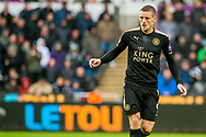 Jamie Vardy of Leicester City in action. Premier league match, Swansea city v Leicester city at the Liberty Stadium in Swansea, South Wales on Saturday 21st October 2017.<br /> pic by Aled Llywelyn, Andrew Orchard sports photography.