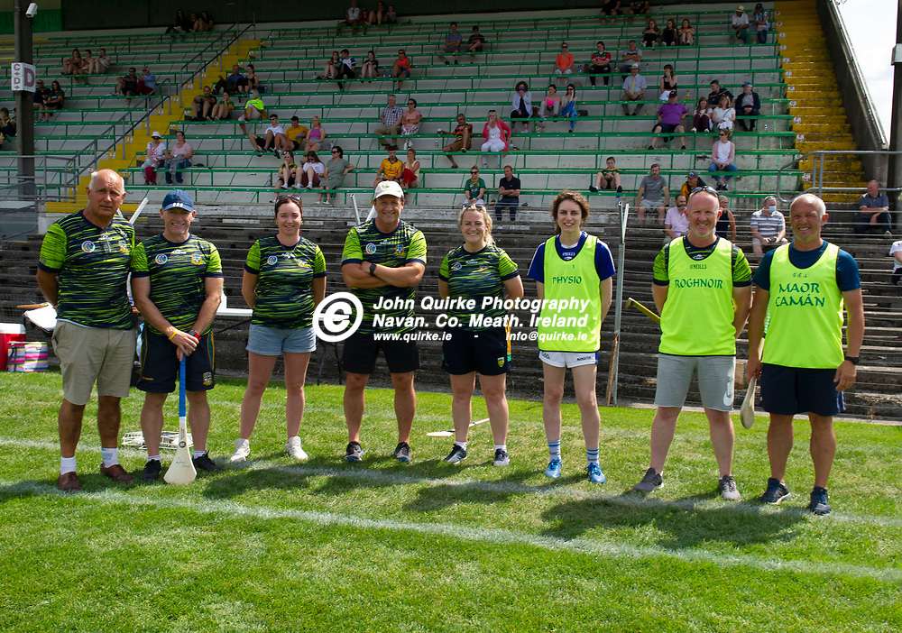 25-07-21. Meath v Dublin All-Ireland Intermediate Camogie Championship (Group 1) at Pairc Tailteann, Navan.<br />Meath team selectors from left, Ed O'Riordan, Gordon Ward, Aoife Maguire, Brendan Skehan (Manager). Aileen Coyle, Emma Fitzpatrick, Mark McManus and Michael Cole.<br />Photo: John Quirke / www.quirke.ie<br />©John Quirke Photography, 16 Proudstown Road, Navan. Co. Meath. (info@quirke.ie / 046-9028461 / 087-2579454).