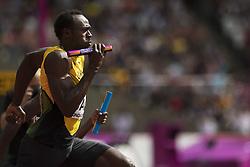 August 12, 2017 - London, STORBRITANNIEN - 170812 Jamaicas Usain Bolt tÅvlar i kvalet pÅ' stafetten 4x100 meter under dag nio av friidrotts-VM den 12 augusti 2017 i London  (Credit Image: © Joel Marklund/Bildbyran via ZUMA Wire)
