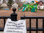 "04 APRIL 2020 - DES MOINES, IOWA: The closed playground at a United Methodist Church in Des Moines. On Saturday morning, 04 April, Iowa reported 786 confirmed cases of the Novel Coronavirus (SARS-CoV-2) and COVID-19. There have been 14 deaths attributed to COVID-19 in Iowa. Restaurants, bars, movie theaters, places that draw crowds are closed until 30 April. The Governor has not ordered ""shelter in place"" but several Mayors, including the Mayor of Des Moines, have asked residents to stay in their homes for all but the essential needs. People are being encouraged to practice ""social distancing"" and many businesses are requiring or encouraging employees to telecommute.        PHOTO BY JACK KURTZ"