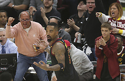 April 29, 2018 - Cleveland, OH, USA - Cleveland Cavaliers' J.R. Smith and fans react after hitting a third quarter three-point shot against the Indiana Pacers in Game 7 of the Eastern Conference First Round series on Sunday, April 29, 2018 at Quicken Loans Arena in Cleveland, Ohio. The Cavs won the game, 105-101. (Credit Image: © Phil Masturzo/TNS via ZUMA Wire)
