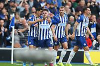 Football - 2019 / 2020 Premier League - Brighton & Hove Albion vs. Tottenham Hotspur<br /> <br /> Steven Alzate of Brighton celebrates with goalscorer Aaron Connolly of Brighton at The Amex Stadium Brighton <br /> <br /> COLORSPORT/SHAUN BOGGUST