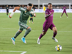 July 26, 2017 - Los Angeles, California, U.S - Gabriel Jesus #33 of Manchester City races goalie, Kiko Casilla #13 of Real Madrid for the ball during their International Champions Cup game at the Los Angeles Memorial Coliseum in Los Angeles, California on Wednesday July 26, 2017. Manchester City defeats Real Madrid, 4-1. (Credit Image: © Prensa Internacional via ZUMA Wire)