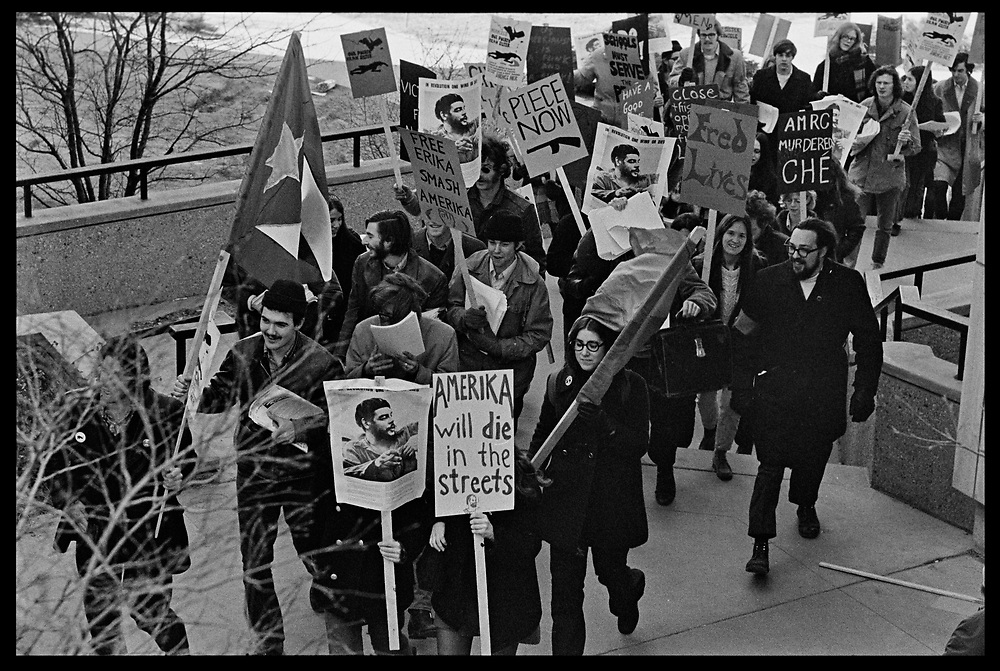 Madison, WI - March 1970. On March 15, 1970, the University of Wisconsin - Madison Teaching Assistants' Association voted to strike, and the campus was filled with picket lines as well as demonstrations of related and other issues. The strike lasted until early April, when the Association and University came to an agreement. Protesters carry Cuban flags, and signs in support of Che Guevara near Birge Hall.