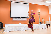 Harshitha Venkatesh performs a Bharathnatyam Dance during the World Culture Festival Bay Area Curtain Raiser event at the India Community Center in Milpitas, California, on January 20, 2016. (Stan Olszewski/SOSKIphoto)